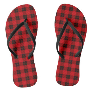 Plaid /tartan pattern red and Black Thongs