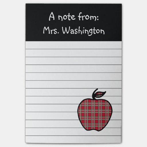 Plaid Teacher's Apple Post It Notes Post-it® Notes