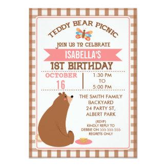 Plaid Teddy Bear Picnic 1st Birthday Invitation