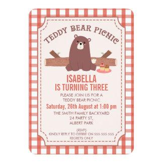 Plaid Teddy Bear Picnic Birthday Invitation