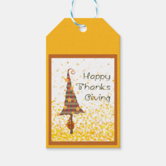 Plaid Thanksgiving Tree With Gold Stars Gift Tags