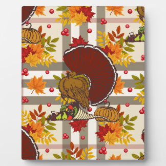 plaid thanksgiving turkey plaque