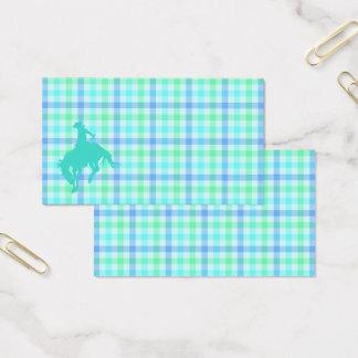 Plaid Turquoise Cowboy Business Card
