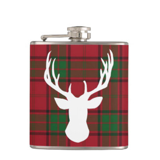 Plaid White Deer Silhouette Hip Flask