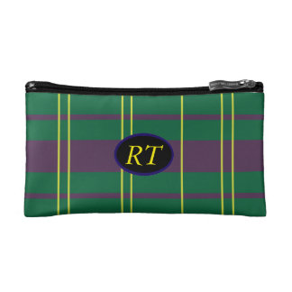 Plaid with customizeable Initials Cosmetic Bags