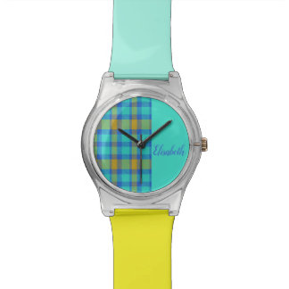 PLAID with Monogram  | bright blue and yellow Watch