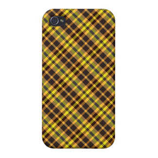 Plaid Yellow Brown Pattern Savvy iPhone 4 Case