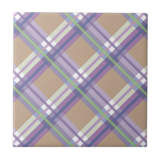 Plaids, Checks, Tartans Sand Lavender and Mint Ceramic Tile