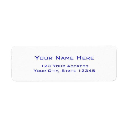 Plain address labels with blue letters