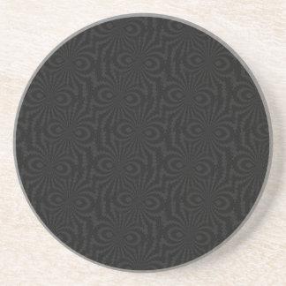 Plain and Simple Black Twisted Velvet Pattern Drink Coaster