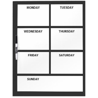 Plain Basic Simple Black White Days of the Week Dry Erase Board