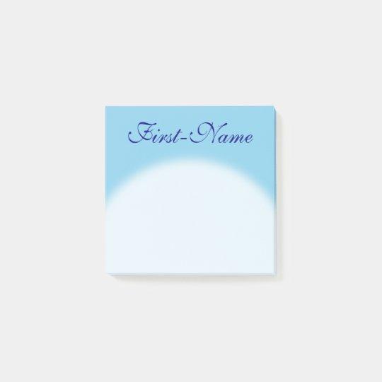 Plain, Basic, Sky Blue Background + Blue Name Post-it Notes