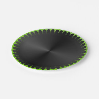 Plain Black and Green Paper Plates