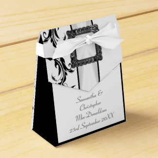 Plain black and white damask lace wedding favour box