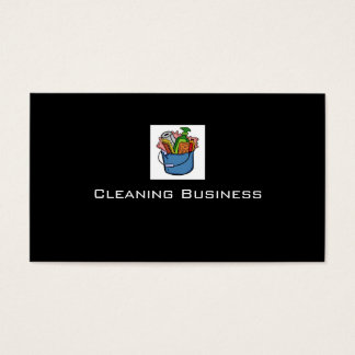 Plain black cleaning customizable business cards