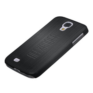 Plain Black Design Brushed Aluminum Look Galaxy S4 Cases