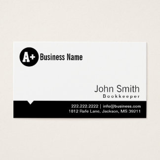 Plain Black Dot Bookkeeper Business Card