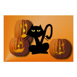 Plain Black Kitty Halloween Poster