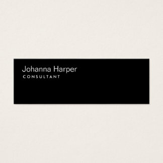 Plain Black Modern Consultant Slim Skinny Mini Business Card