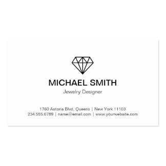 Plain Black White Diamond Logo Professional Look Pack Of Standard Business Cards