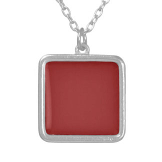 Plain Blank Red Shades DIY add text quote photo Silver Plated Necklace