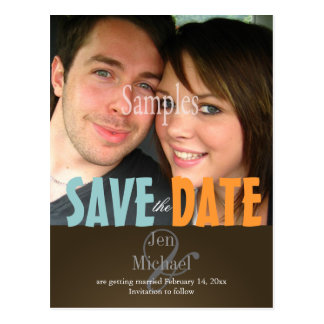Plain, Blue + Brown Save the Date Photo postcards,