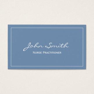 Plain Blue Nurse Practitioner Business Card