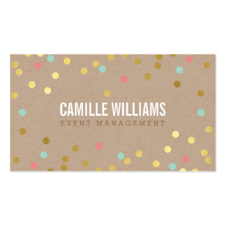 PLAIN BOLD MINIMAL smart text confetti gold kraft Business Cards