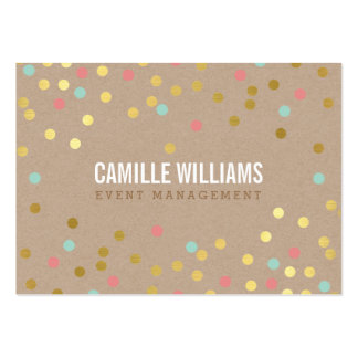PLAIN BOLD MINIMAL smart text confetti gold kraft Pack Of Chubby Business Cards