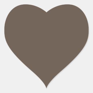 Plain brown background heart shaped heart sticker