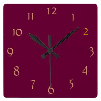 Plain Burgandy+ Gold Numerals > Minimalist Clock