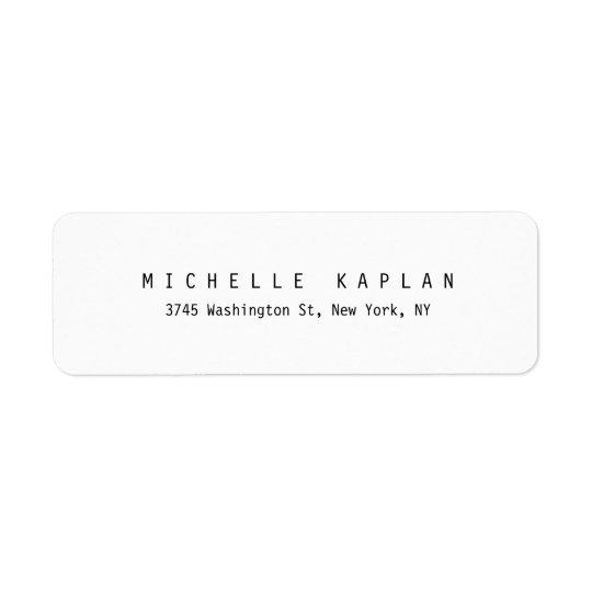 Plain Classic Black White Minimalist Professional Return Address Label