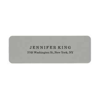 Plain Classical Grey Minimalist Professional Return Address Label