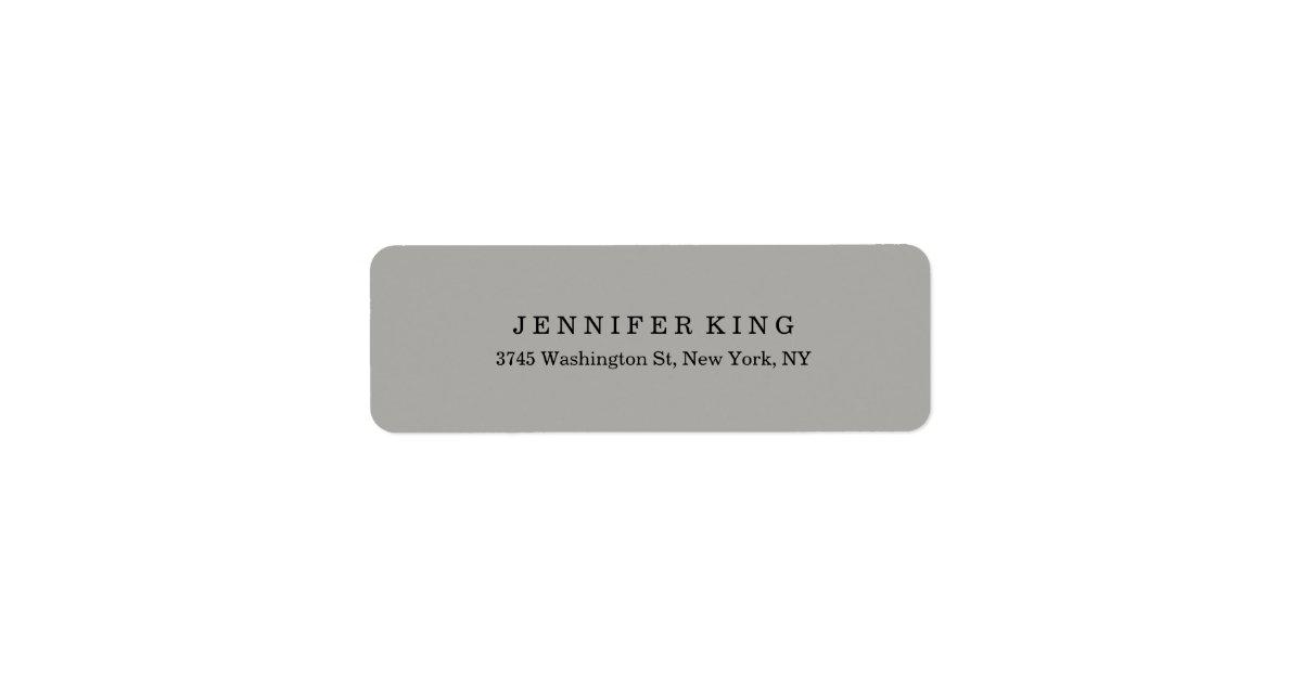 Plain Classical Grey Minimalist Professional Return Address Label