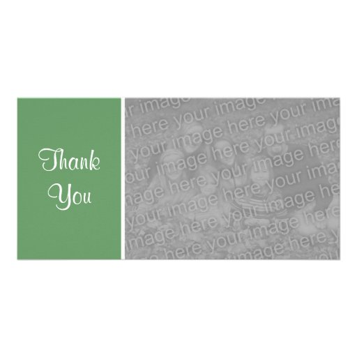 Plain Color II - Thank You - Army Green Personalized Photo Card