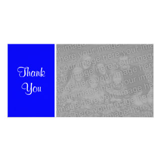Plain Color II - Thank You - Blue Customized Photo Card