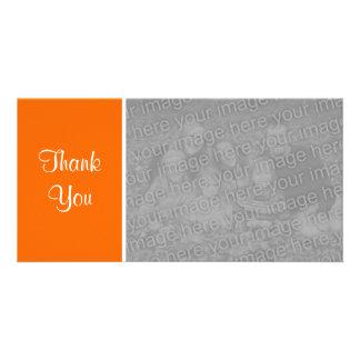 Plain Color II - Thank You - Orange Custom Photo Card