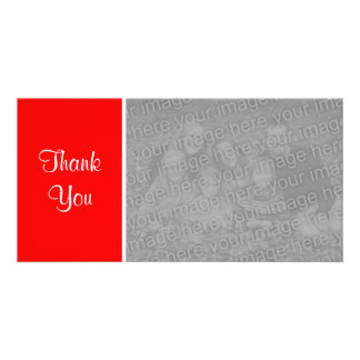 Plain Color II - Thank You - Red Personalised Photo Card