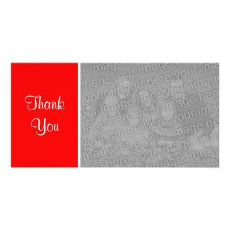 Plain Color II - Thank You - Red Custom Photo Card