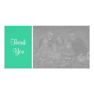 Plain Color II - Thank You - Sea Green Customized Photo Card