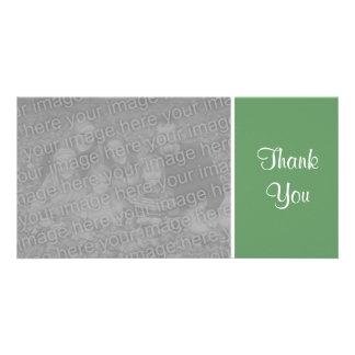 Plain Color - Thank You - Army Green Custom Photo Card
