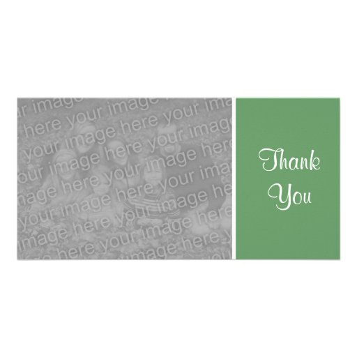 Plain Color - Thank You - Army Green Photo Card Template