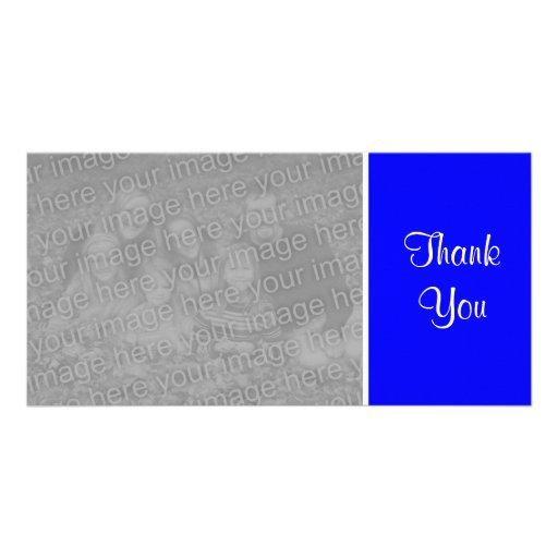 Plain Color - Thank You - Blue Photo Cards