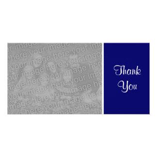 Plain Color - Thank You - Dark Blue Customised Photo Card