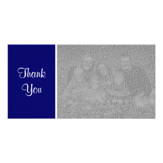 Plain Color - Thank You - Dark Blue Personalized Photo Card