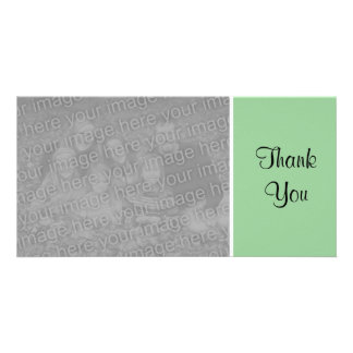 Plain Color - Thank You - Faded Green Customized Photo Card
