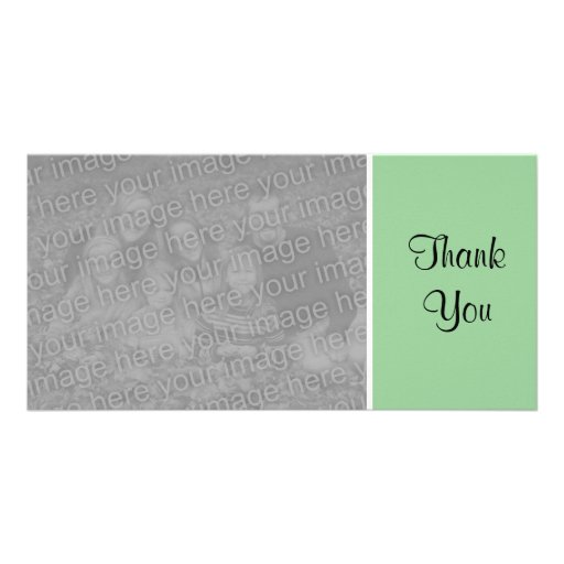 Plain Color - Thank You - Faded Green Photo Card