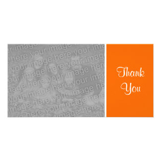 Plain Color - Thank You - Orange Customized Photo Card