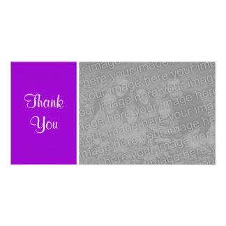 Plain Color - Thank You - Purple Photo Card