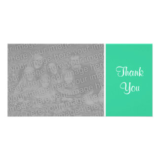 Plain Color - Thank You - Sea Green Personalised Photo Card